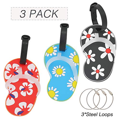 Price comparison product image OVOV 3 PCS Travelling Luggage Tags Slippers Patterns Funny Silicone Label Beach Series with Steel Loops (slippers)