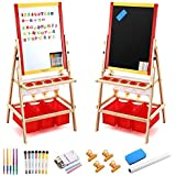 Magicfly Kids Art Easel with Paper Roll, Double Sided Toddler Children Easel Chalkboard and Magnetic Dry Erase Board for Kid