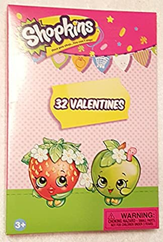 Paper Magic 32 Count Shopkins Kids Classroom Valentine Exchange Cards (Exchange Valentines For Kids)