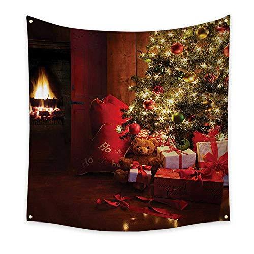 ParadiseDecor ChristmasHorizontal tapestryXmas Scene Celebrations Tree Gifts The Fireplace Artful Design ImageDecorative Tapestry 32W x 32L InchRed Yellow (Carl Fireplace)