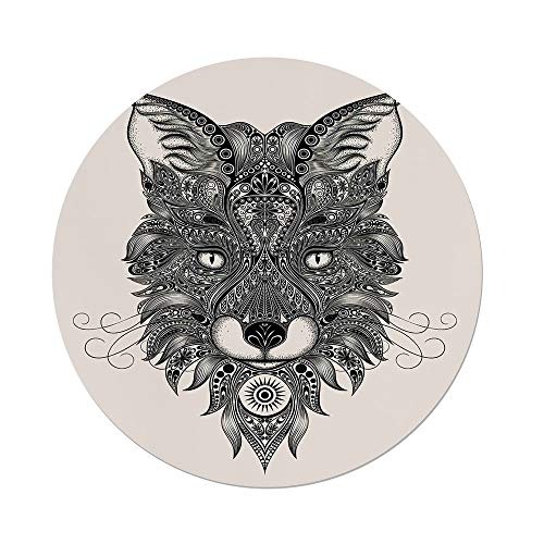 Polyester Round Tablecloth,Celtic Decor,Sharp Eyed Fox Head Portrait Ethnic Mask Celtic Animal Pattern Decor Asian Style Image,Black Ecru,Dining Room Kitchen Picnic Table Cloth Cover,for Outdoor Indo by iPrint