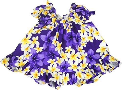 RJC Baby Girl's Sunny Plumeria Puff Sleeve Hawaiian 2 Piece Dress Set Purple 6-months