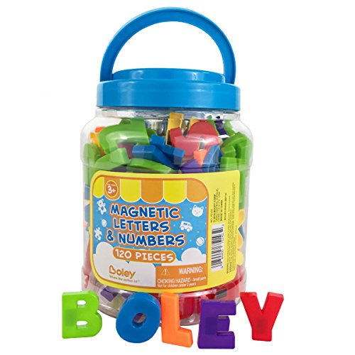 BOLEY (120-Piece) Toddler Bucket of Magnetic Letters and Numbers - Magnetic Play Letters, Numbers and Symbols in a Clear Transportable Bucket - Great Educational Toys For 3 Year Olds and Up!