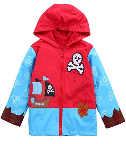 Kids Girls Jacket Cute Flower Waterproof Outwear Raincoat Hoodies (Red Skull, 5(for (Skull Waterproof Jacket)