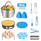 15 PCS Instant pot Accessories for Pressure Cooker fit 6,8 Qt Steamer Basket Springform Pan, Egg Rack, Egg Bites Mold, Cheat Sheet Magnets, Bowl Clip, Tong and Mitts (15 pieces)