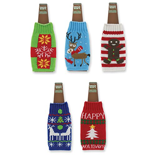 1 Uncle Bob's Ugly Beer Sweater Novelty Bottle Cover - Assorted - Style Ugly