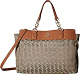 Tommy Hilfiger Women's Evaline Convertible Satchel Tan/Dark Chocolate One Size