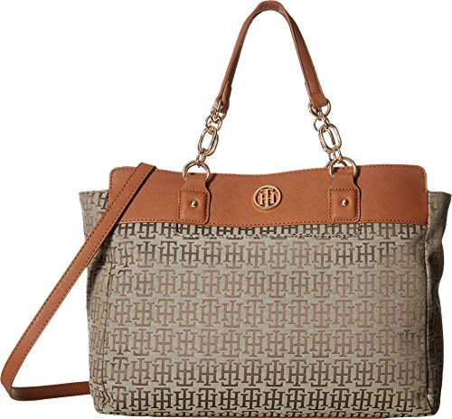 Tommy Hilfiger Women's Evaline Convertible Satchel Tan/Dark Chocolate One Size by Tommy Hilfiger