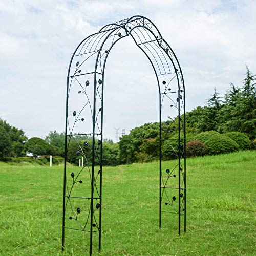 Kinbor 2 Sides Outdoor Metal Garden 8'2'' H x 4'11'' W Arch Garden Arbour for Climbing Plant Outdoor Garden Lawn Backyard (2 Sides 8'2'' H x 4'11'' W Style D) by Kinbor