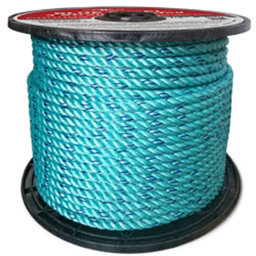 CWC BLUE STEEL Rope Standard Lay, Teal with Dark Blue Tracer (3/16'' x 1200')