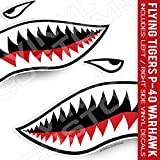 Flying Tigers Decals Shark Teeth Stickers (12' inches - 1 Pair)