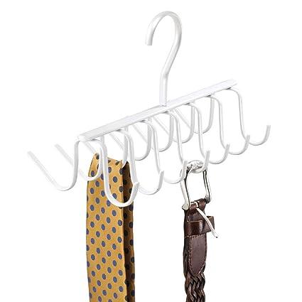 mDesign Práctica Percha múltiple para Colgar Accesorios, Cinturones, Corbatas y más – Corbatero Organizador de armarios con 14 Ganchos – Organizador ...