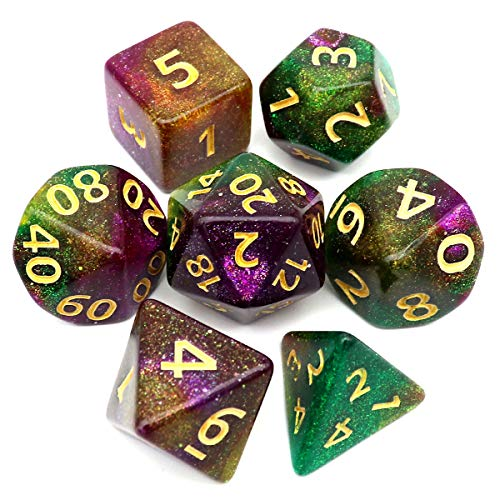 Haxtec Glitter DND Dice Purple Green Yellow Color Changing Polyhedral D&D Dice for Roleplaying Dice Games Dungeons and Dragons-Priest