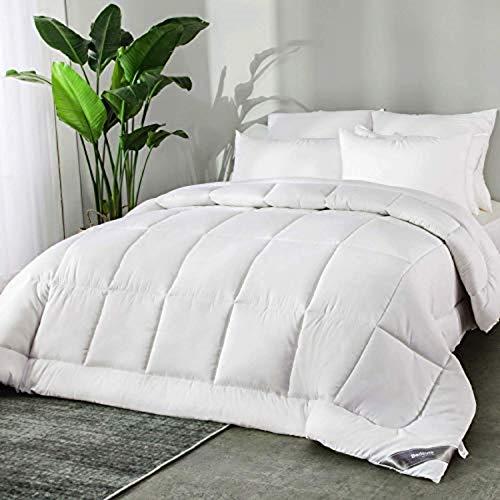 Bedsure Couette 200X200 cm - Couette Tempérée 300g/m², Couette 2 Personnes Blanc avec Onglets d'angle, Couverture Construction de Box-Stitching, Lavable en Machine
