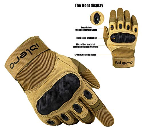 ISLERO Heavy Duty All Weather Motor Bike Motorcycle ATV paintball outdoors sports Full Finger Gloves Carbon Fiber Knuckle Hiking Climbing Racing Riding Cycling Smart Phone Capacitive Touch Compatible Gloves