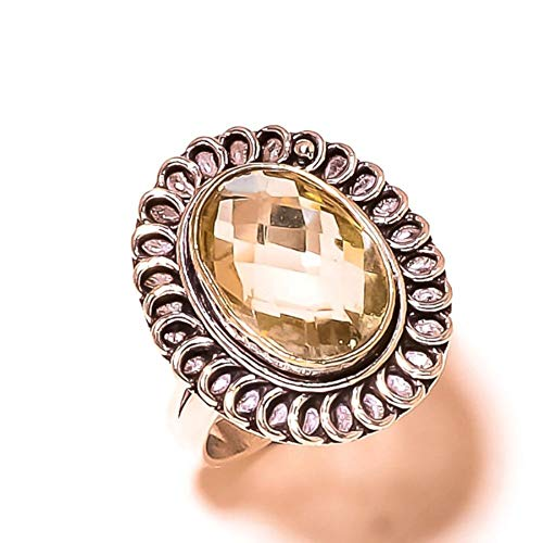 (Jewels House Green Amethyst Oval Gemstone Silver Plated Handmade Statement Green Stone Ring US-8.5)