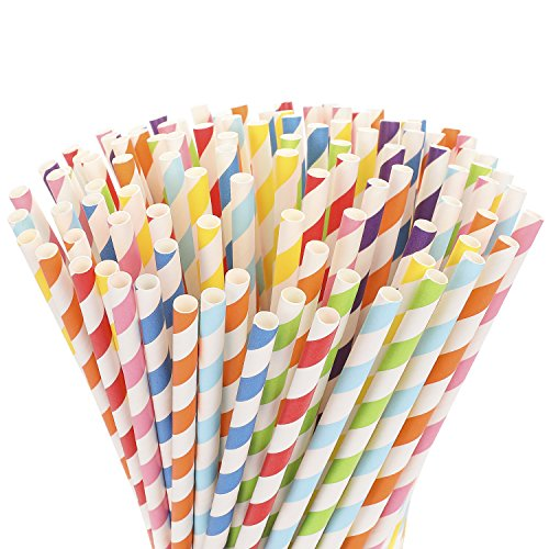 Hiware 200-Pack Biodegradable Paper Straws - 8 Different Colors Rainbow Stripe Paper Drinking Straws - Bulk Paper Straws for Juices, Shakes, Smoothies, Party Supplies Decorations -