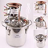 WMN_TRULYSTEP DIY Home Distiller Moonshine Still Stainless Boiler Thermometer Wine Spirits Essential Oil Water Brewing Kit (Copper, 12 Litres / 3 Gallon)