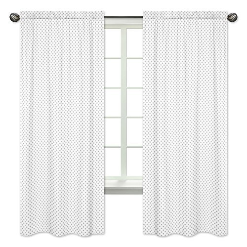 Sweet Jojo Designs 2-Piece Grey and White Polka Dot Window Treatment Panels Curtains for Watercolor Floral Collection by (Dot Polka Curtain)