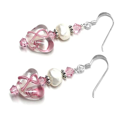 Breast Cancer Awareness stirling silver earrings.