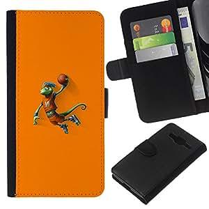 KLONGSHOP // Tirón de la caja Cartera de cuero con ranuras para tarjetas - Baloncesto camaleón Lagarto - Samsung Galaxy Core Prime //