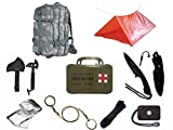 Ultimate Arms Gear Level 3 Assault MOLLE ACU Terrain Digital Backpack Kit; Signal Mirror, Polarshield Blanket, Knife Fire Starter, Wire Saw, Axe, 50' Foot Paracord, Camping Tube Tent & First Aid Kit