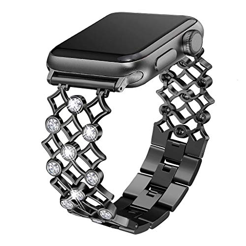 Freshzone Bling Bands Compatible for Apple Watch Series 1/2/3/4 42mm/44mm, Stainless Steel Hollowed-Out Diamond Gold Ingot Steel Chain Strap (Black) ()