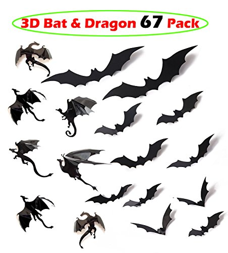 60 Pack Scary Bats and 7 Pack Dragons Wall Decal Wall Sticker, for Halloween Eve Decor Home Window (Diy Halloween Wall Decor Bats Paper Sticker)