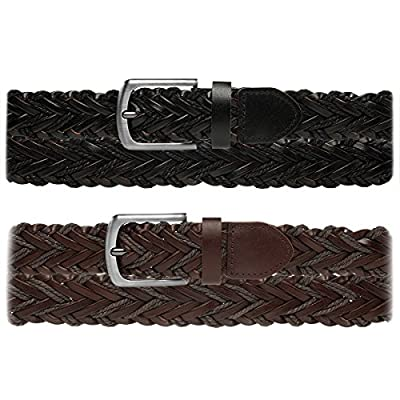 DG Hill Leather Braided Belt For Men Brushed Finish Metal Buckle