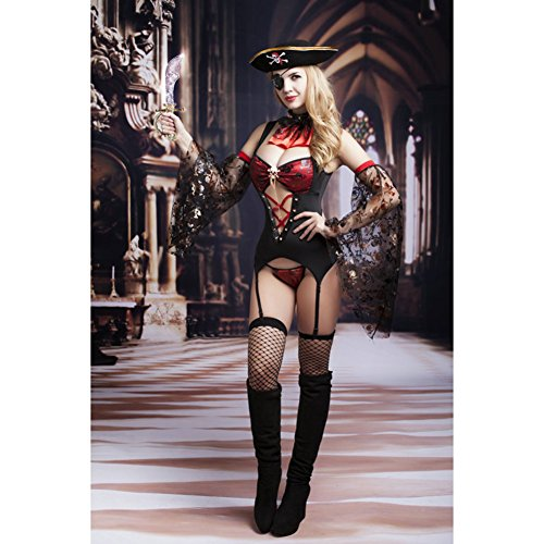 Sexy Pirate Outfit Lingerie Uniform Playwear Set 5pcs Accessories(red & Black) ()