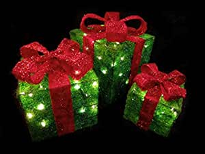 Set of 3 sparkling green sisal gift boxes for Amazon christmas lawn decorations