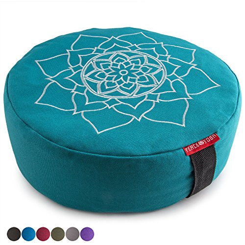 Peace Yoga Zafu Meditation Yoga Buckwheat Filled Cotton Bolster Pillow Cushion with Premium Designs - Mandala Turquoise 16