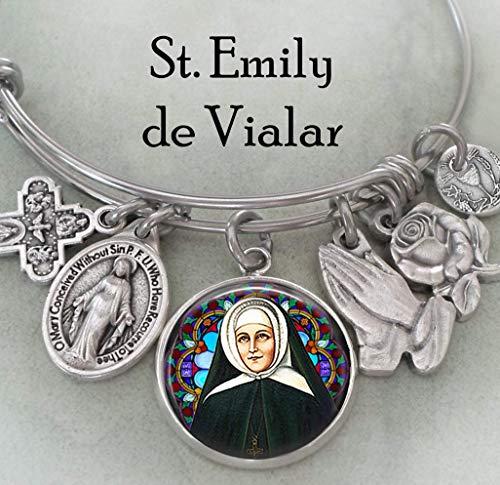 St. Emily de Vialar Bangle Bracelet, Catholic Patron Saint Confirmation Gift, 3 Sizes, Teens, Petite Women, Medium, Large (Saint Emily De Vialar Patron Saint Of)