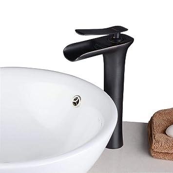 Beelee Contemporain Noir Mélangeur Bec cascade Mitigeur Robinet pour salle  de bains avec 2 ans de Garantie