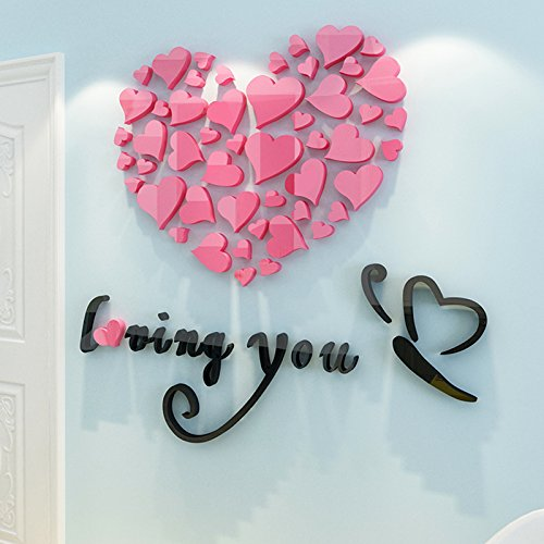 Loterong Love Shaped Acrylic 3d Wall Stickers Lovers