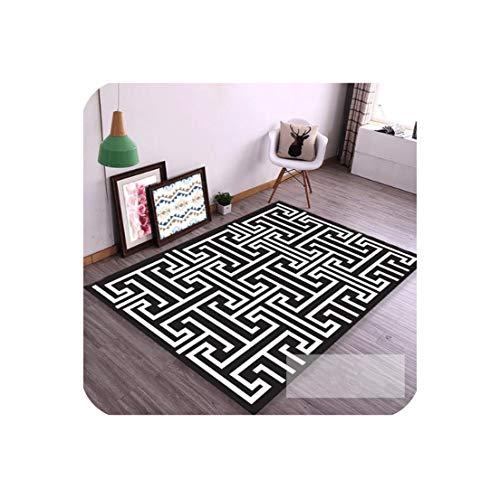 (European Geometric Black and White Carpet Area Rug for Bedroom Livingroom Kitchen Baths tapete Anti-Slip Home Large Carpet,7,140CM 200CM)