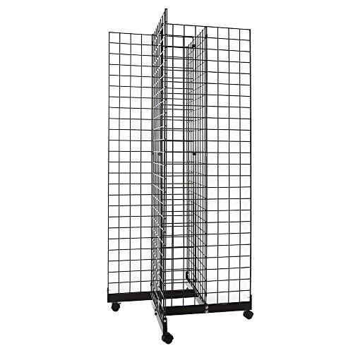 Only Garment Racks #1946B(1) + #1900B(4) + #1904B(12) Black 4-Way Grid Tower Display