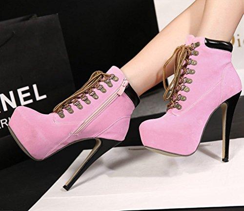Para Talón Color Zapatos Liangxie Sólido Sexy Alto Cómodo Algodón Rosado Zhhzz Botas Martin Tacón Cruzado De Botines Mujer 57w7WzqRZ