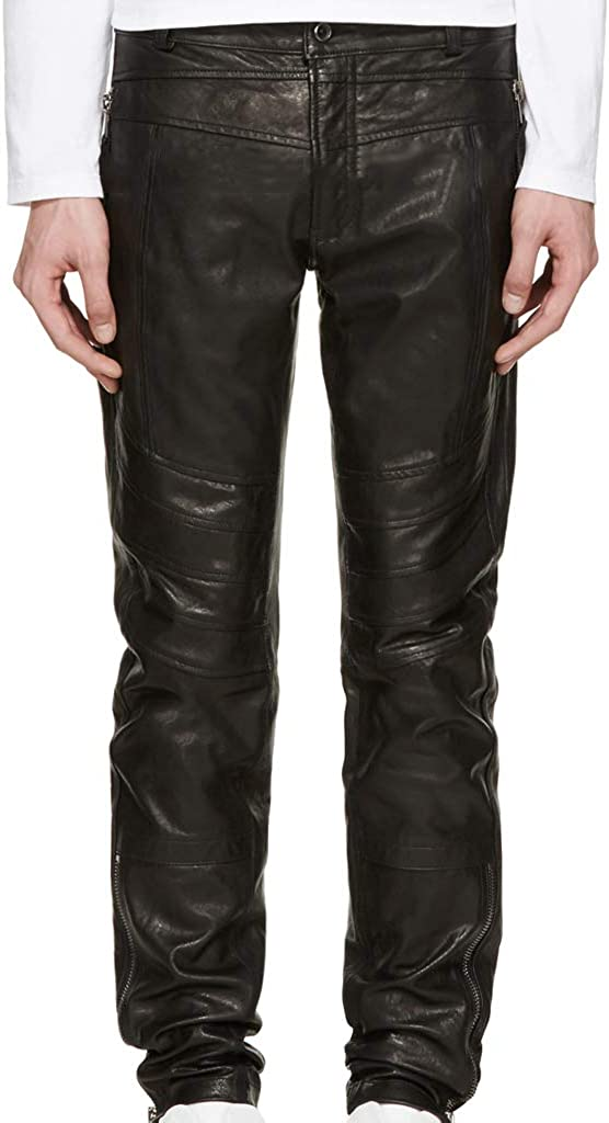 Koza Leathers Mens Leather Pant Trouser Genuine Lambskin Real Leather Casual Pant PM054