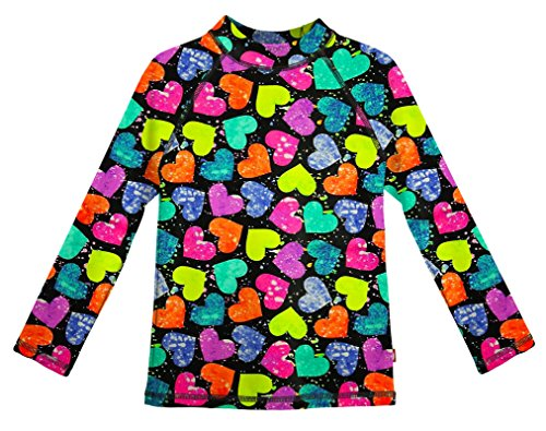 Splatter Heart - City Threads LS Girls' Rashguard Swimming Suit Swim Tshirt Tee UPF50+ Sun Protection for Beach Pool Summer Fun, Hearts Splatter, 5