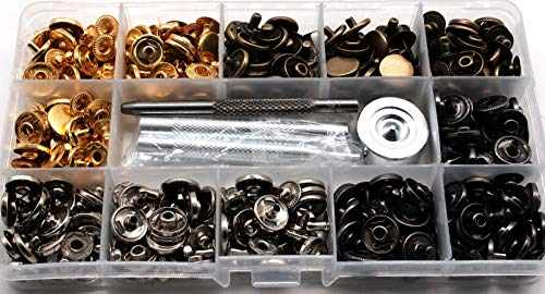 (100 Sets Copper Snap Fastener Kit Leather Snap Buttons Press Studs with 4 Pieces Installation Tools for Clothing Leather Bracelet Jeans Wear Jacket Bags Belts,633(12.5mm))