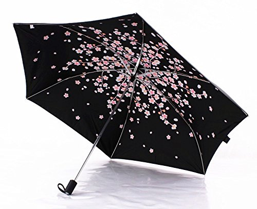 Cherry Blossom Foldable Windproof Travel Umbrella, Fast Drying/waterproof 8 Ribs Reinforced Windproof, , portable and durable for Business. (Plum Pink) by Tomato99 (Image #1)