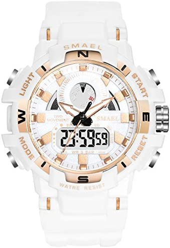 Ladies sport digital watch, waterproof white wrist watches for ladies