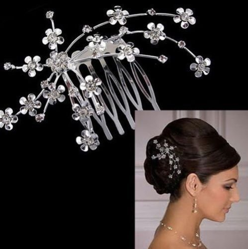 Diansts(TM) new silver tiara combs Plum Rhinestone Crystal hair wedding Bride Accessories