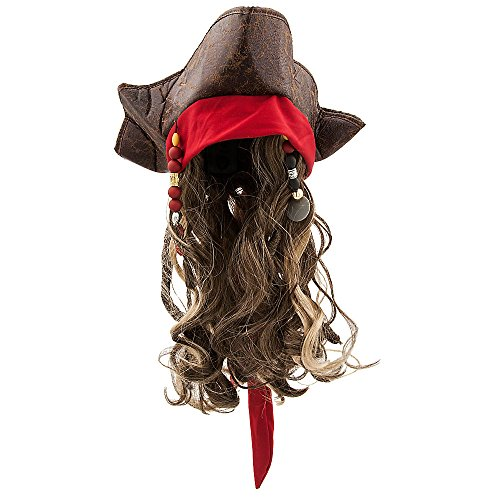 [Disney Jack Sparrow Pirate Hat and Wig for Kids Pirates of the Caribbean: Dead Men Tell No Tales] (Kid's Jack Sparrow Hat)