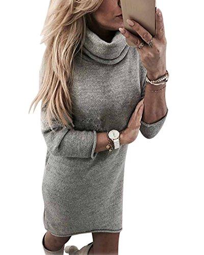 Minetom Damen Pullover Kleider Mode Minikleid Winterkleider Strickkleider  Elegant Langarm Stricksweat Strickpullover Sweatkleid AA Grau EBeibyeH2 a72936c1ce