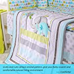 Spring-Baby-Elephant-Crib-Bedding-Set-8-Piece-for-Baby-Boys-and-GirlsBlueGreenGrey-Including-Bumper-Pads-and-Blanket-Light-Blue-Elephant-8-Piece