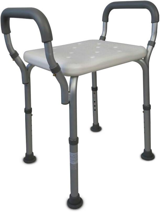 Mobiclinic, Acueducto, Silla/Taburete de baño y Ducha, ortopédica, Aluminio, PVC, Altura Regulable, Ayuda para baño para Ancianos y discapacitados, ergonómico, reposabrazos, conteras Antideslizantes