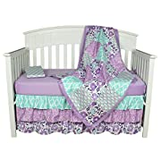 Purple Baby Bedding, Zoe 4-In-1 Bedding Set by The Peanut Shell