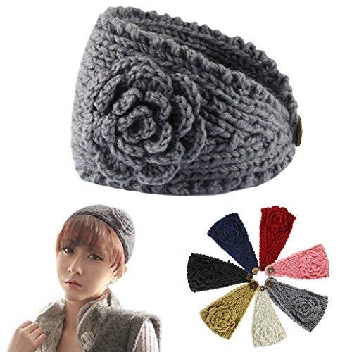 Women Crochet Headband Knit Hairband Flower Winter Ear Warmer Headwrap (Gray)